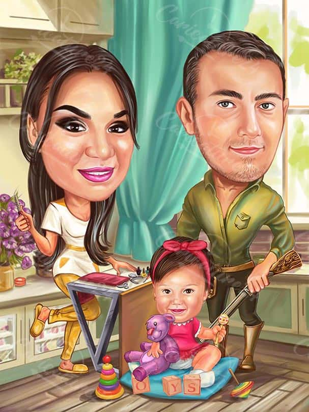 Hunter Caricature Gift with Family