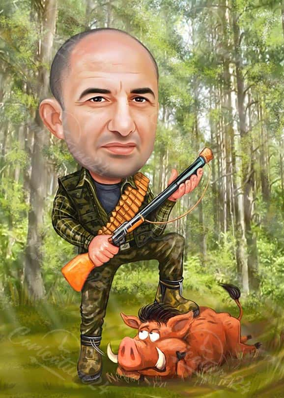 Hunter Caricature in the Woods with Boar