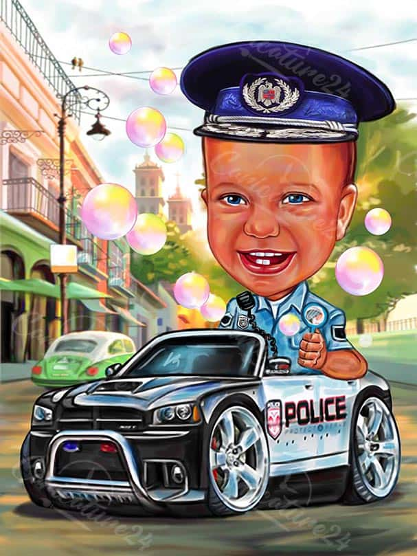Kid Policeman Caricature