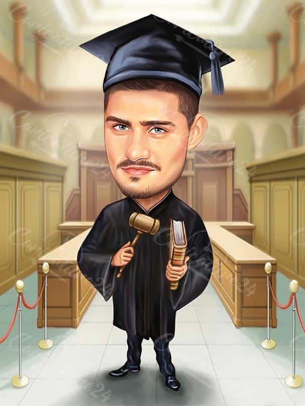 Lawyer Graduation Caricature