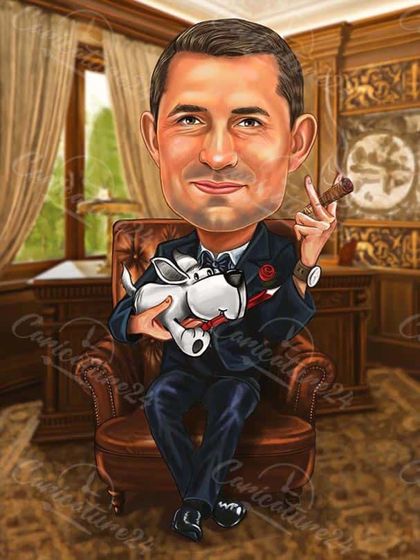 Man with Cigar Boss Day Caricature