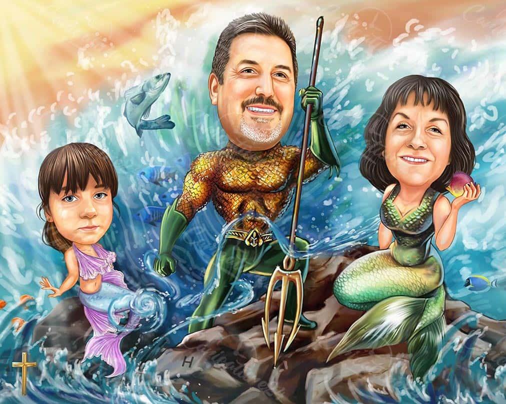 Mermaids Family Caricature