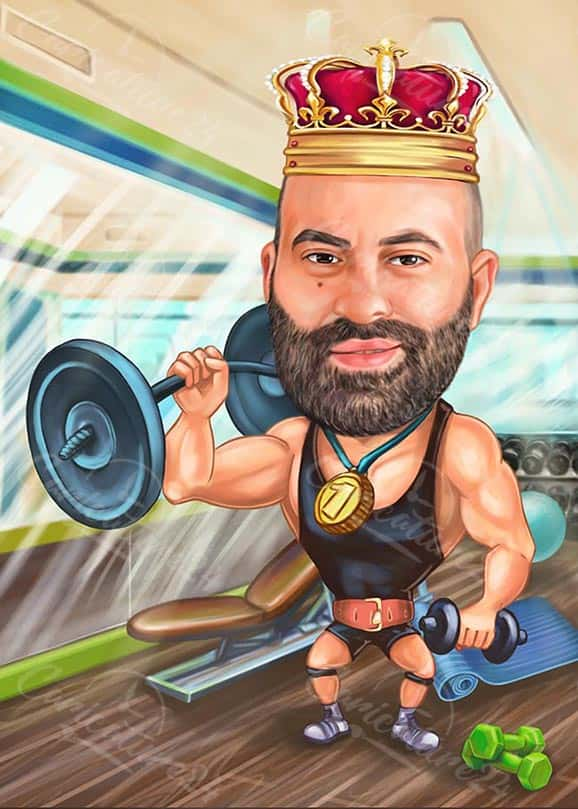 Muscle Man Caricature in the Fitness