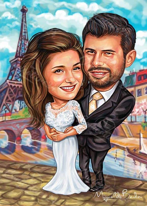 Paris Wedding Caricature Drawing