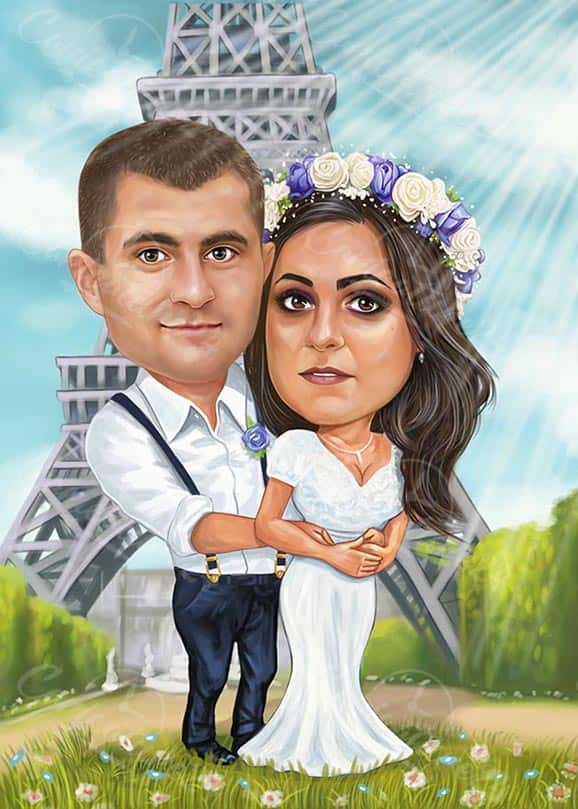 Paris Wedding Custom Caricature from Photo