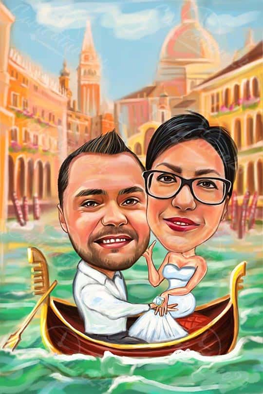 Perfect Engagement Present - Caricature in Venice