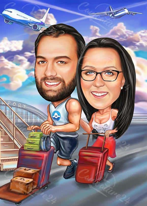 Personalized Couple Caricature for Travellers