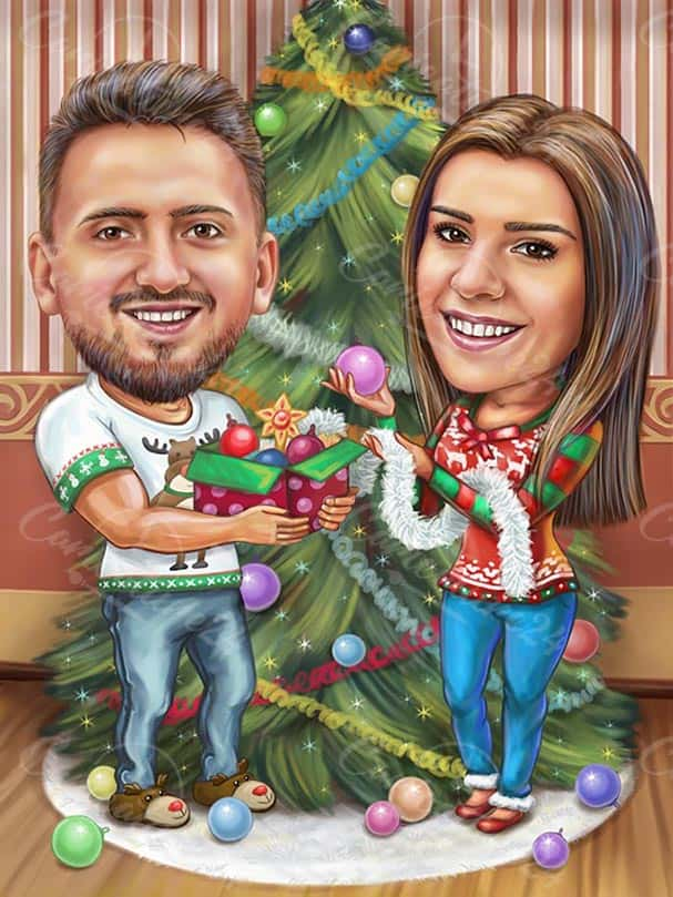 Personalized Love Caricature for Christmas
