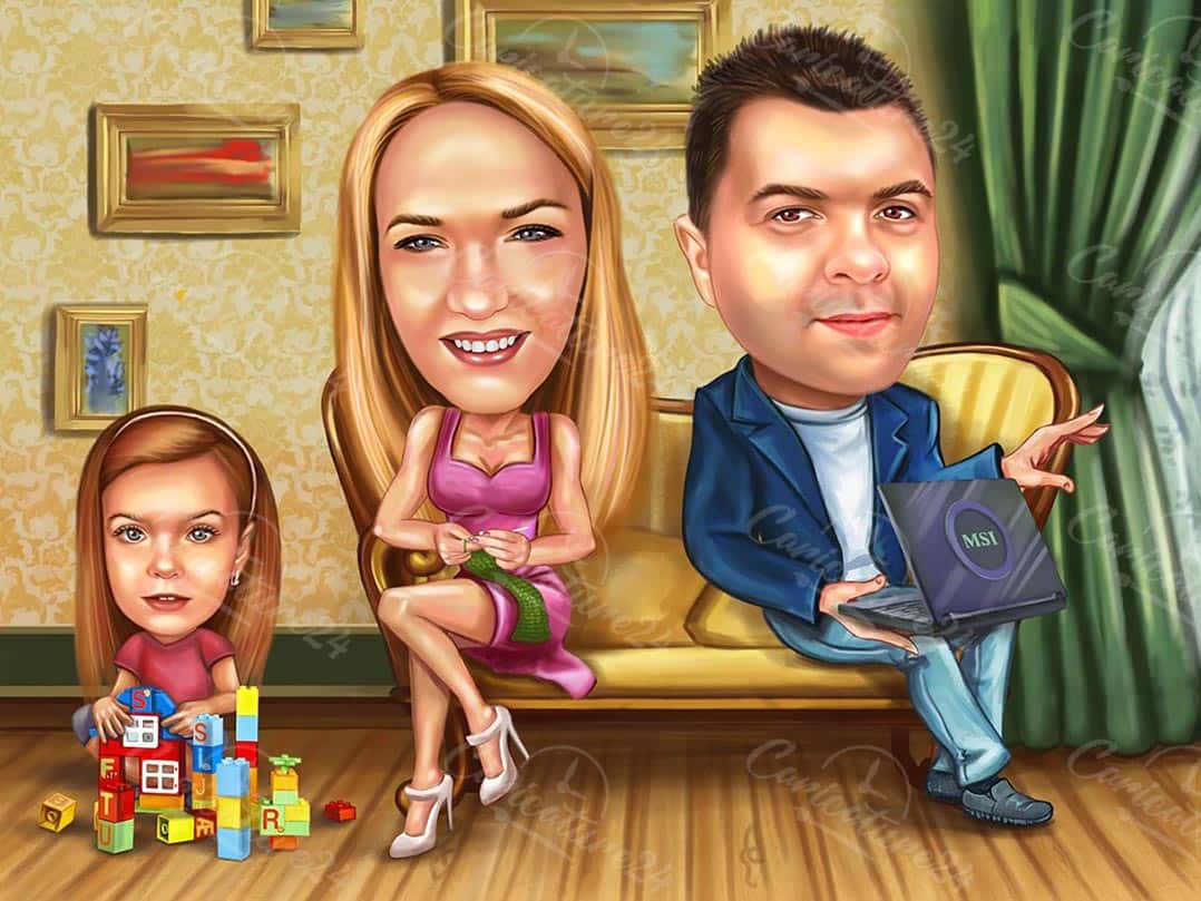 Programmer with Family Cartoon Caricature