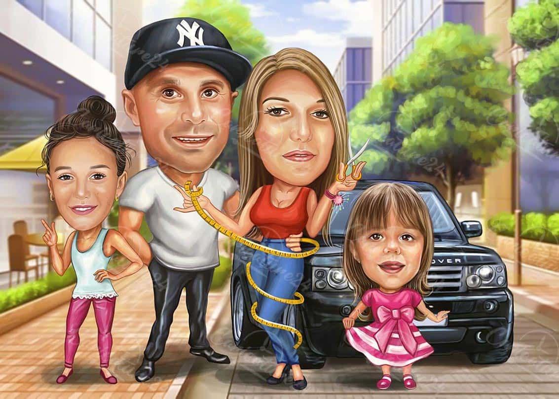 Rapper Family Caricature