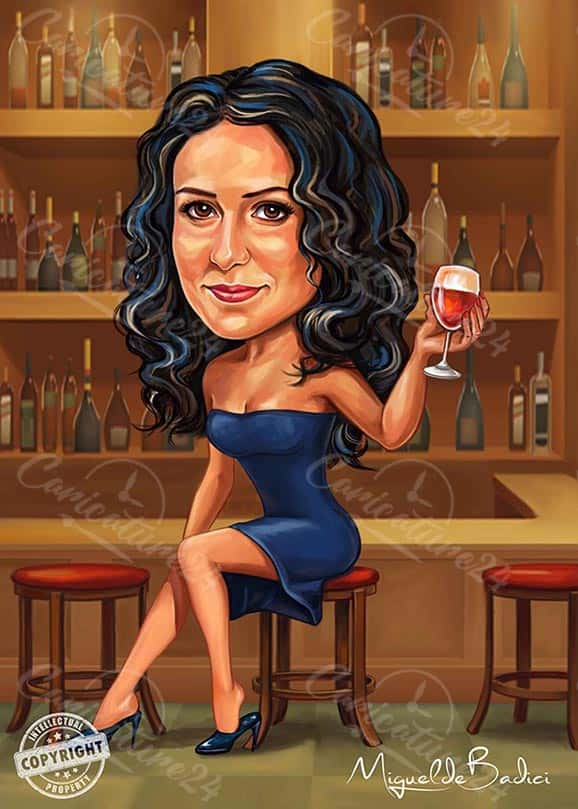 Sexy Woman Caricature in a Bar