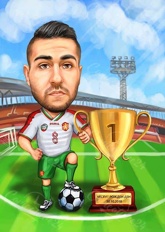 Soccer Player Caricature with a Trophy