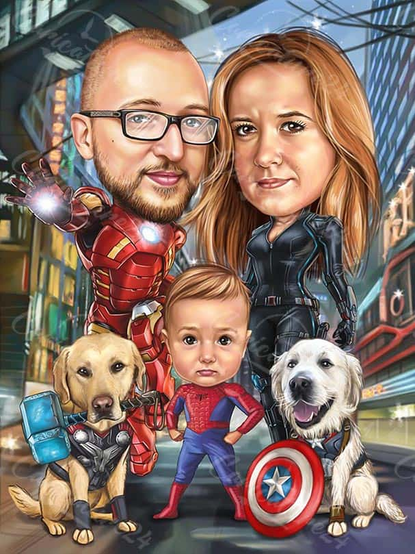 Spiderman Caricature with Iron Man Family