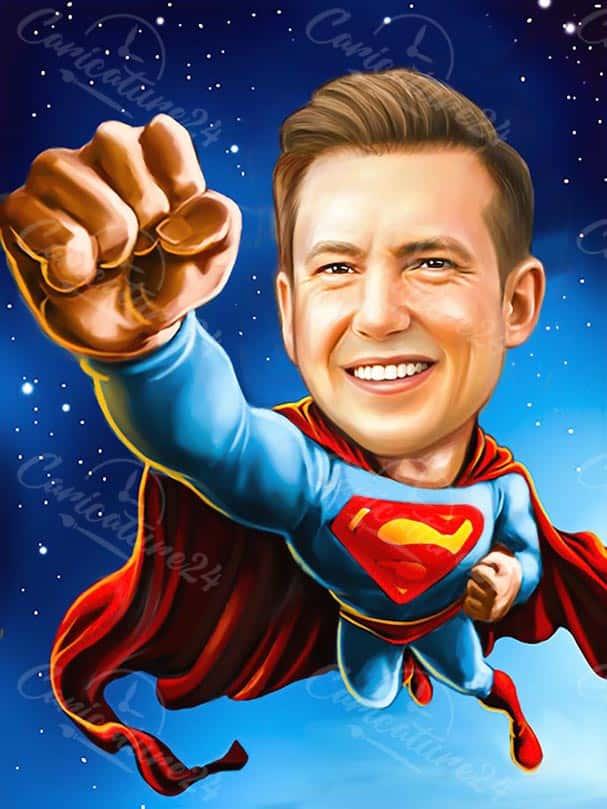Superman Caricature Plain Background