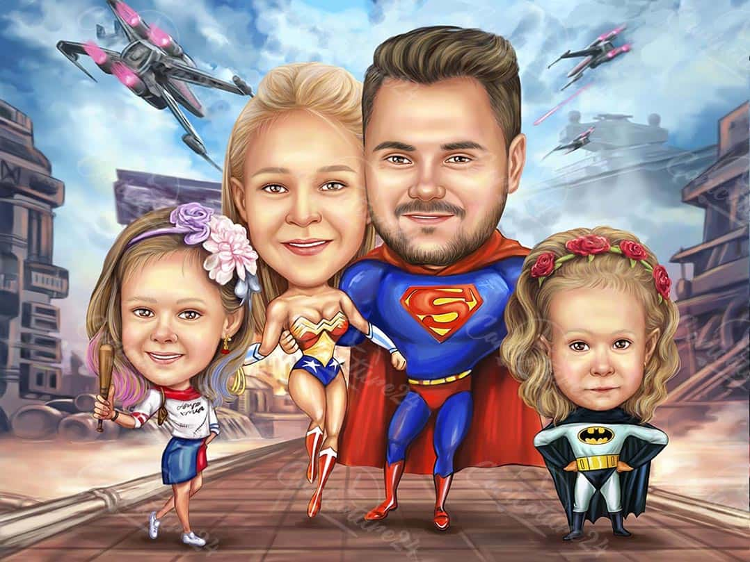 Superman Caricature with Superheroes Family