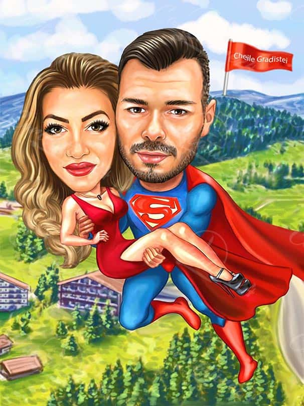 Superman Saves a Sexy Girl Caricature