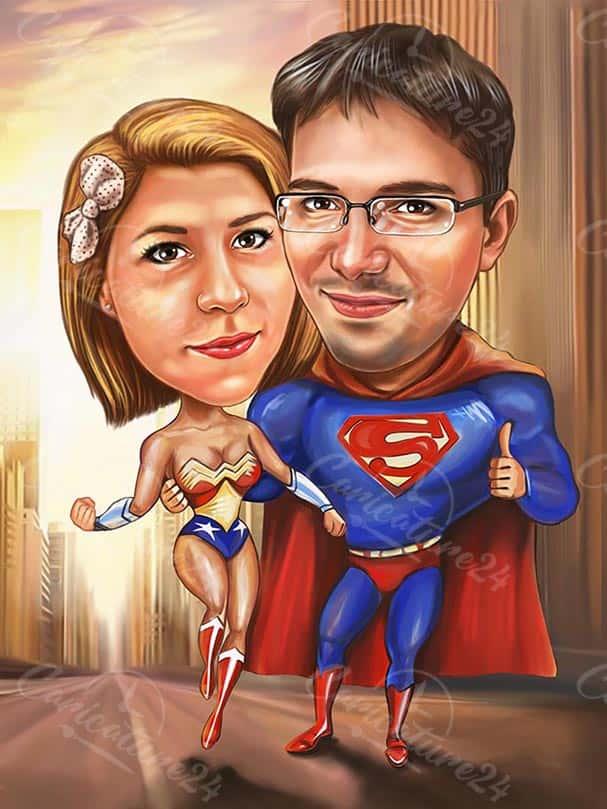 Superman & Wonder Woman Couple Caricature