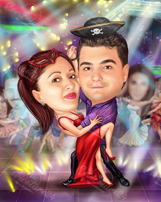 Tango Dancing Caricature