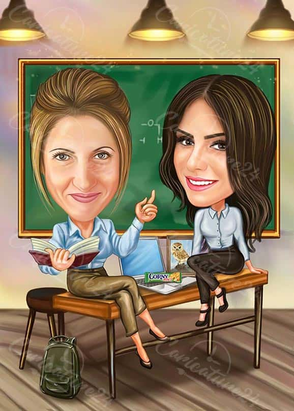 Teacher Student Caricature