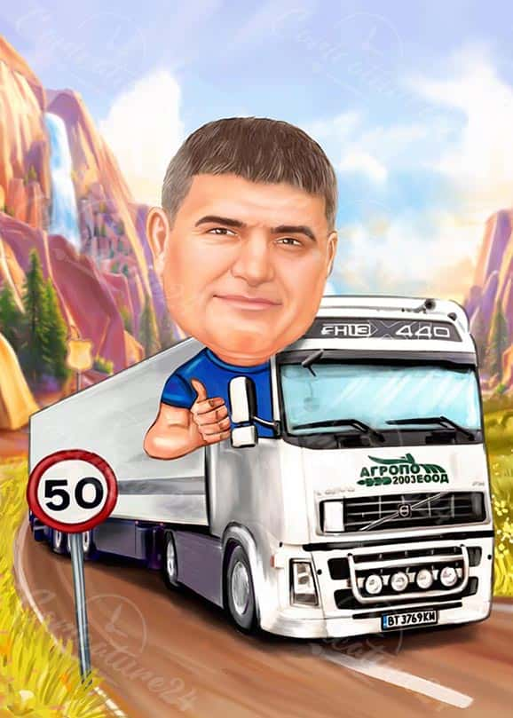 Truck Driver Caricature in the Nature