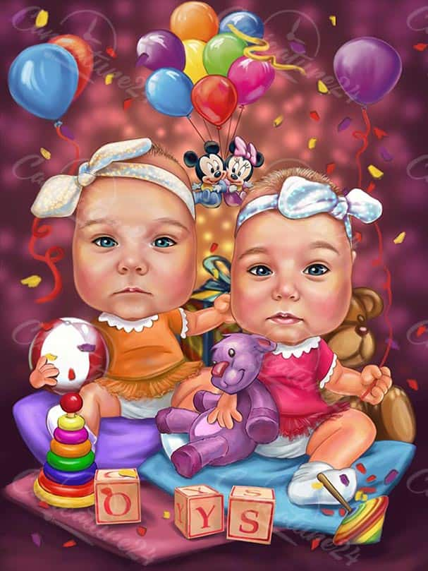 Twin Babies Personalized Caricature from Photo