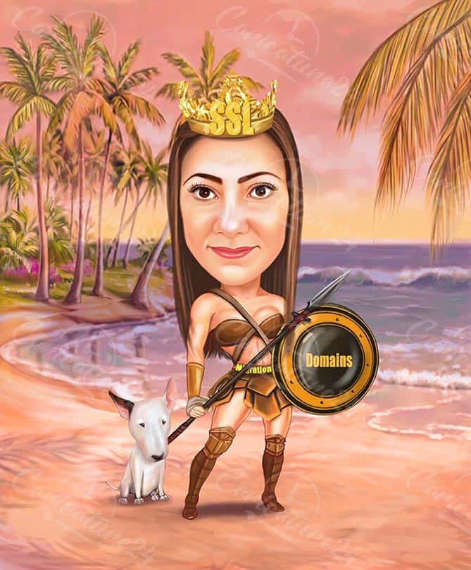 Warrior Woman Caricature from Photo by Design