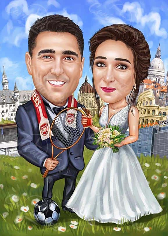 Wedding Caricature for Tennis Players