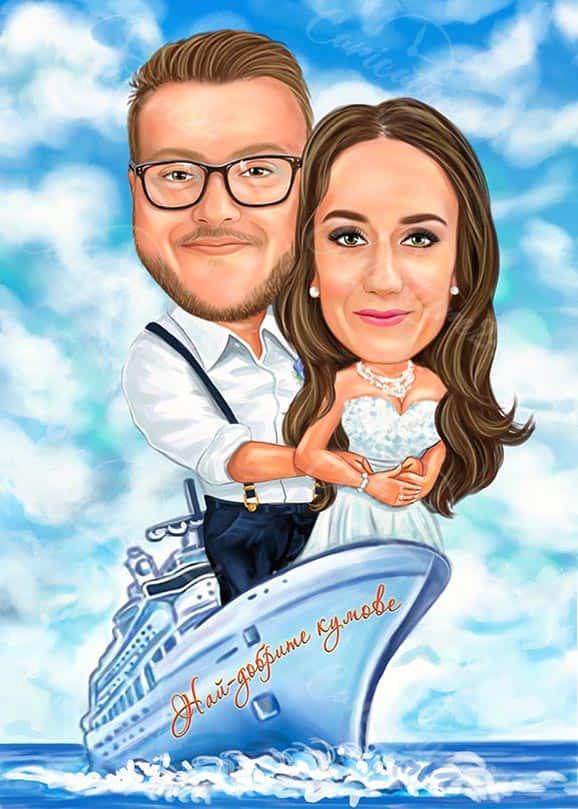 Wedding Caricature Love in the Ocean
