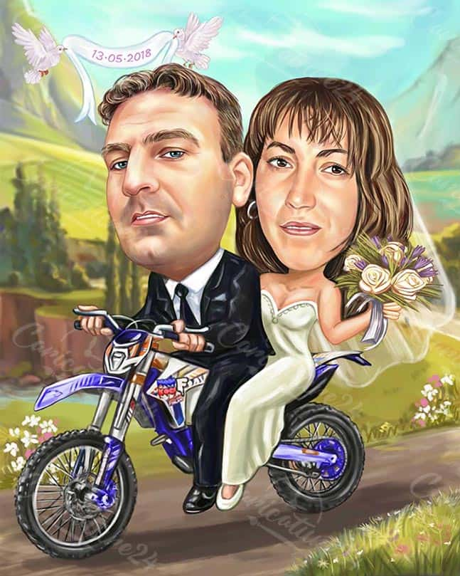Wedding Motorcycle Custom Caricature Drawing