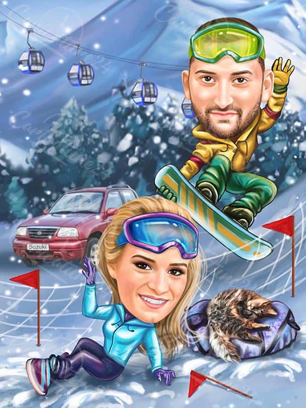 Winter Ski Caricature for a Couple
