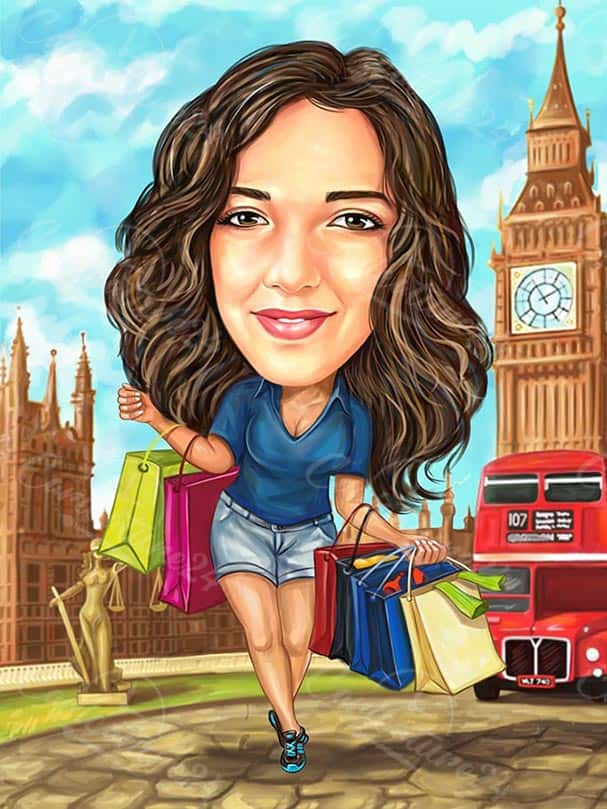 Woman in London Caricature