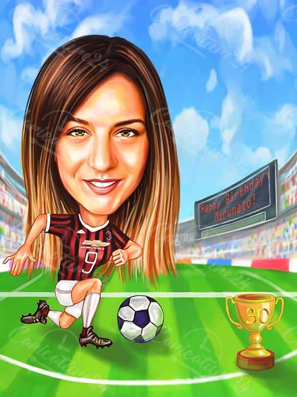 Woman Soccer Player Caricature