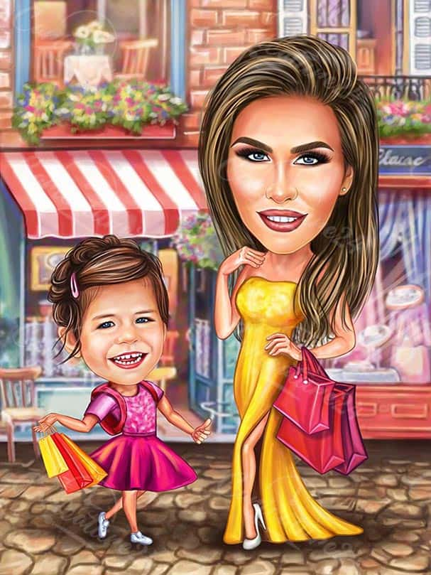 Woman with Child Caricature Drawing