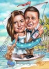 Beach Wedding Caricature with a Cat