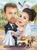 Beach Wedding Caricature with a Stork