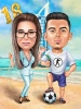 Caricature Couple on Vacation in Dubai