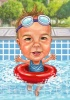Caricature for a Kid in the Pool