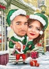 Christmas Caricature with Elf Costumes