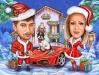 Christmas Cartoon Caricature with Car
