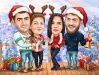 Christmas Family Caricature with 4 Characters
