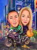 Couple Caricature with Motorcycle and Gold