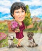 Custom Caricature Woman with Dogs