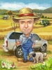 Farmer Caricature Drawing with Dog