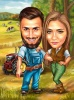 Farmers in Love Caricature Drawing