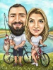 Fishing Caricature for Bikers