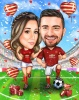 Football Couple Caricature on a Stadium