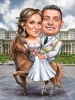 Funny Bride and Groom Couple on a Horse Caricature