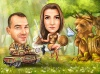 Funny Couple and Bear Caricature