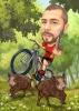 Hunter Caricature on a Bike