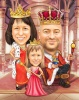 Little Princess Caricature with Family